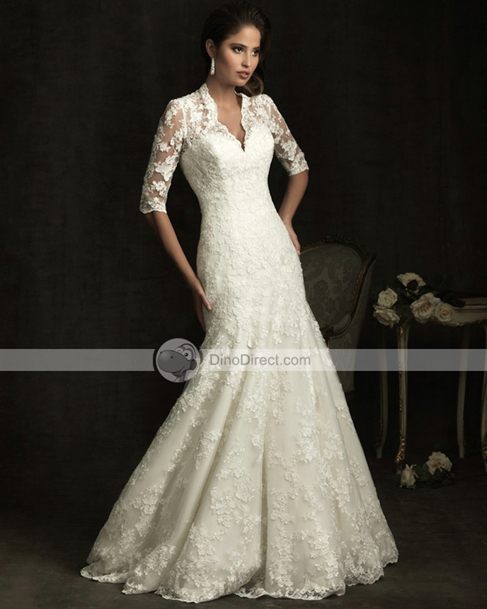 Wedding Dress With Collar