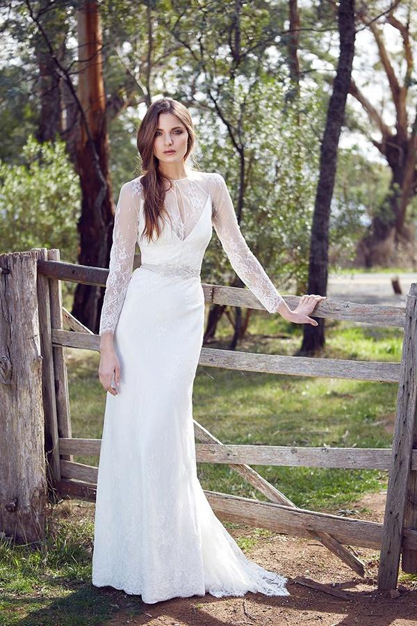 Long Sleeve Sheer Wedding Dress