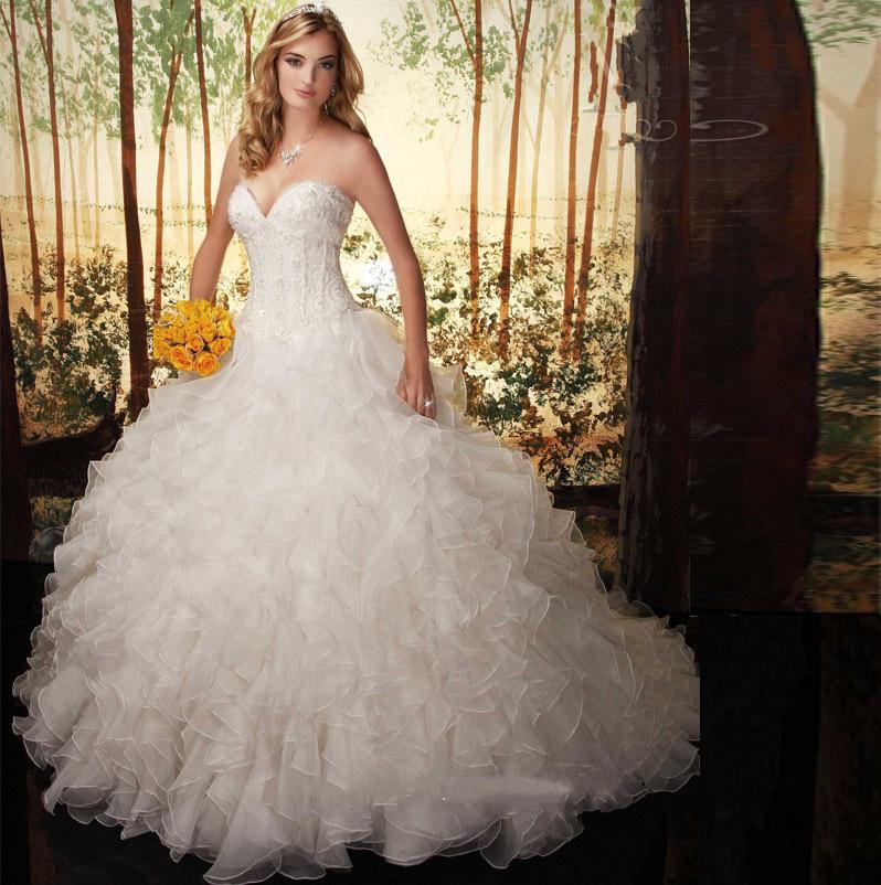 Vintage Ball Gown Ruffles Wedding Dresses 2015 Hot Sale Sweetangel