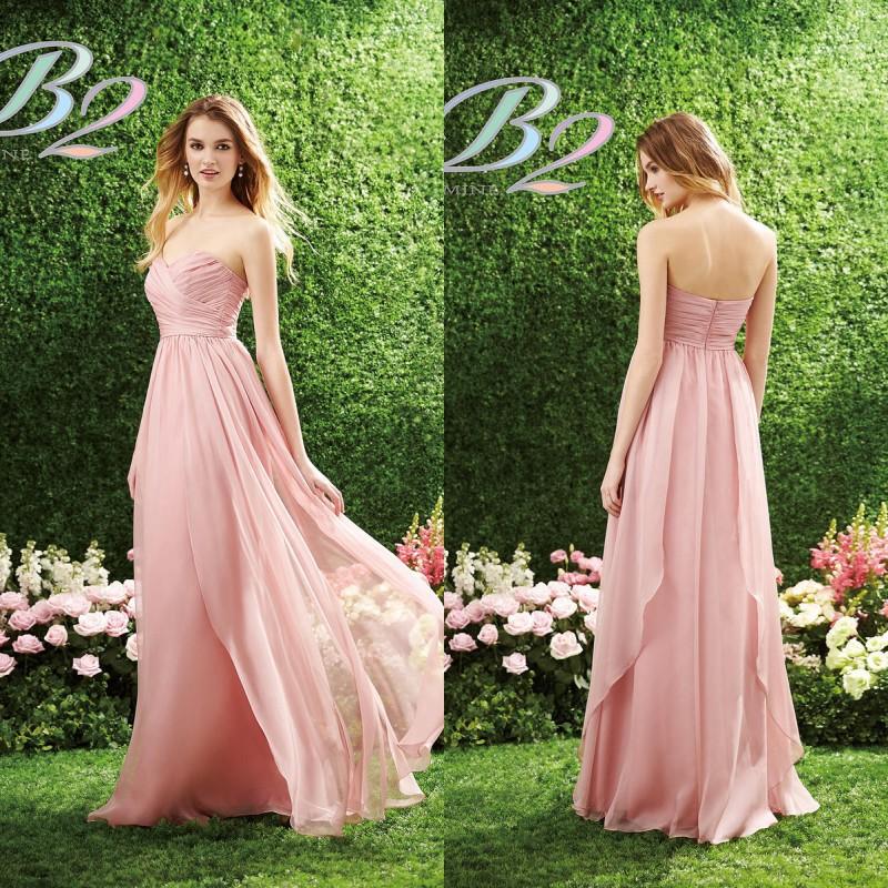 2015 Long Pink Bridesmaid Dress B2 By Jasmine Sweetheart Ruched
