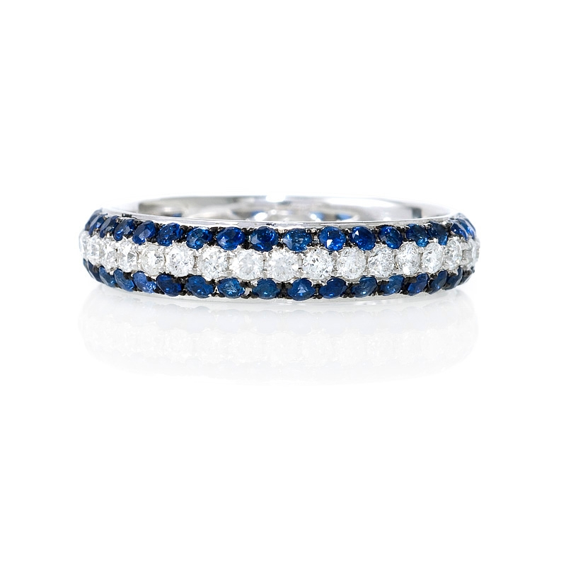 56ct Diamond And Blue Sapphire 18k White Gold Eternity Wedding