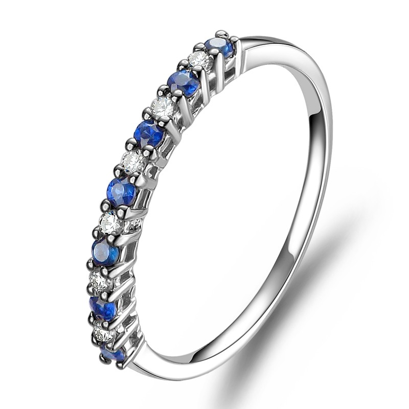 Affordable Diamond And Sapphire Wedding Band On 10k White Gold