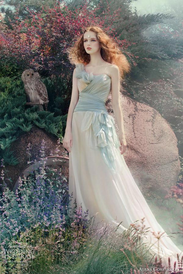 Cream And Blue Wedding Dress