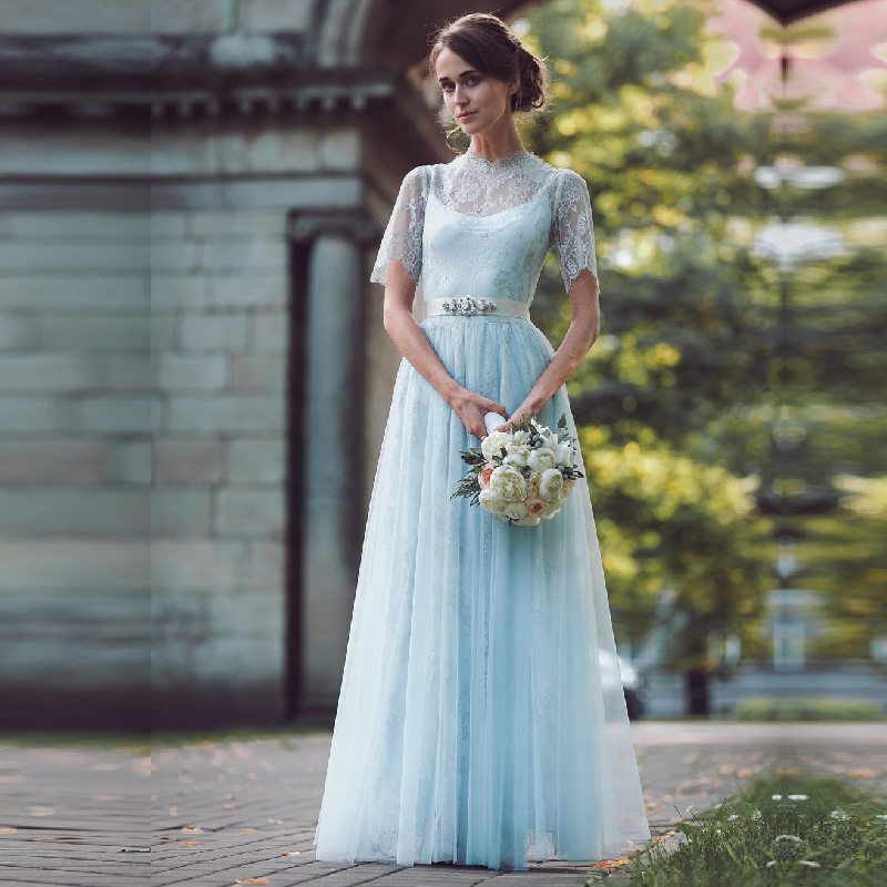 Light Blue Short Wedding Dress