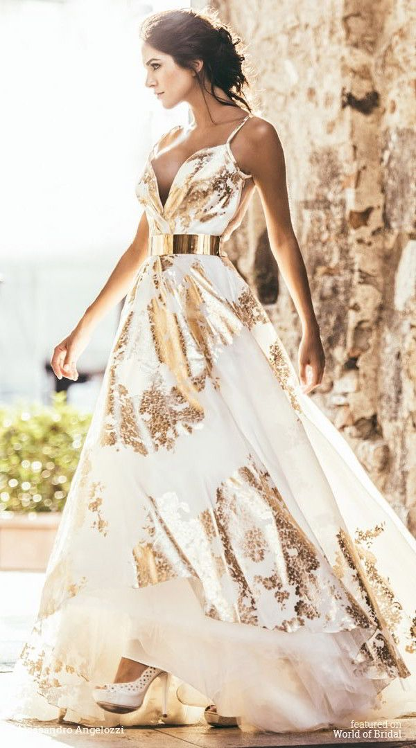Gold And White Wedding Dress