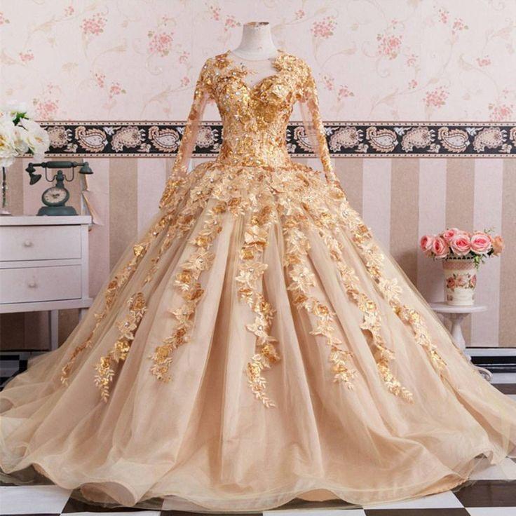 Golden Lace Wedding Dress