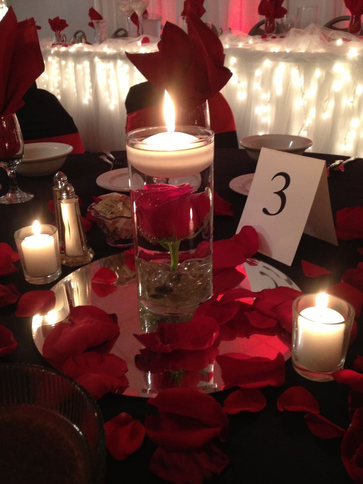 Red rose centerpieces for weddings