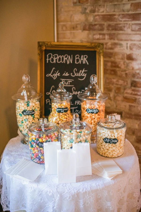 popcorn at wedding reception. Black Bedroom Furniture Sets. Home Design Ideas