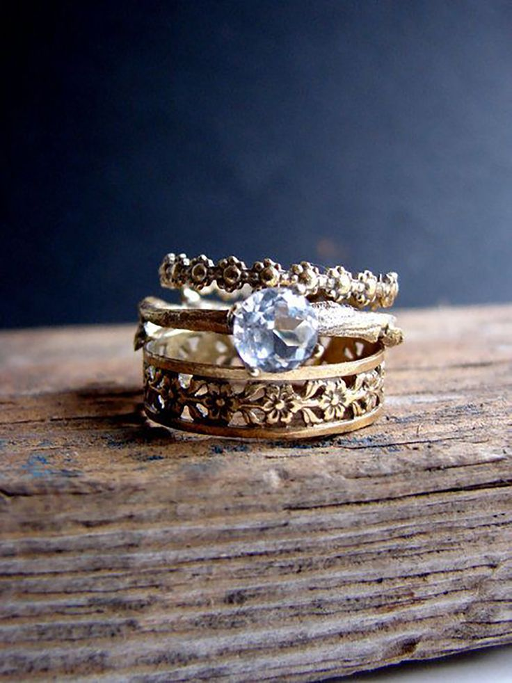 wedding unique bohemian blushingblonde rings bands boho