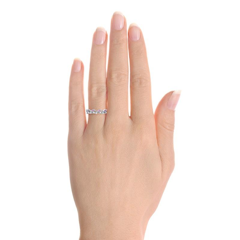 Custom Organic Pink Sapphire And Diamond Wedding Band 102273