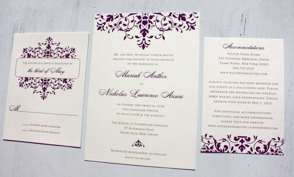 Dark Purple Elegant Scrollwork Wedding Invitations