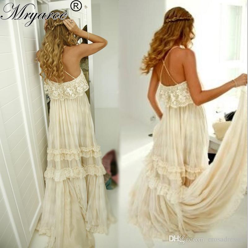Greek Style Boho Bohemian Wedding Dresses Spaghetti Straps: Hippie Style Wedding Dress