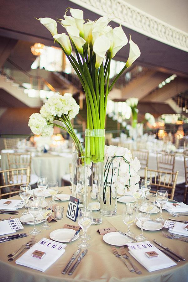 Calla Lily Wedding Table Centerpieces
