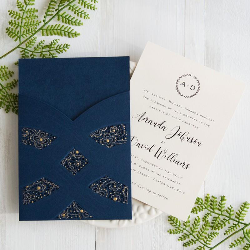 Elegant Blue Wedding Invitations Elegant Navy Blue Laser Cut