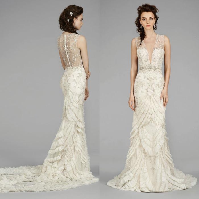 Fancy Lazaro Art Deco Wedding Dress 60 With Additional Long Sleeve
