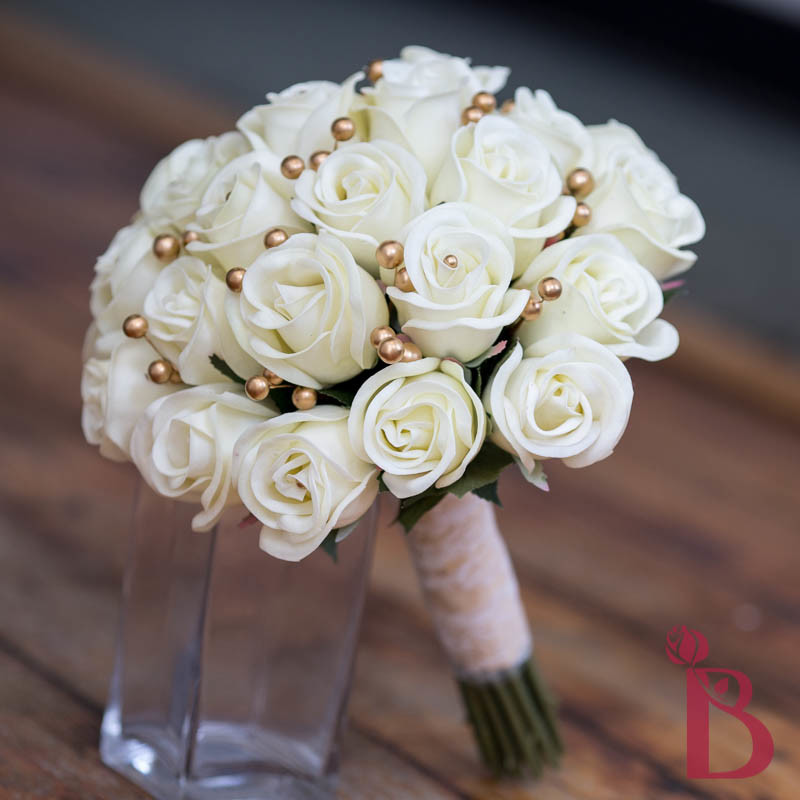 Ivory And Gold Wedding Bouquets