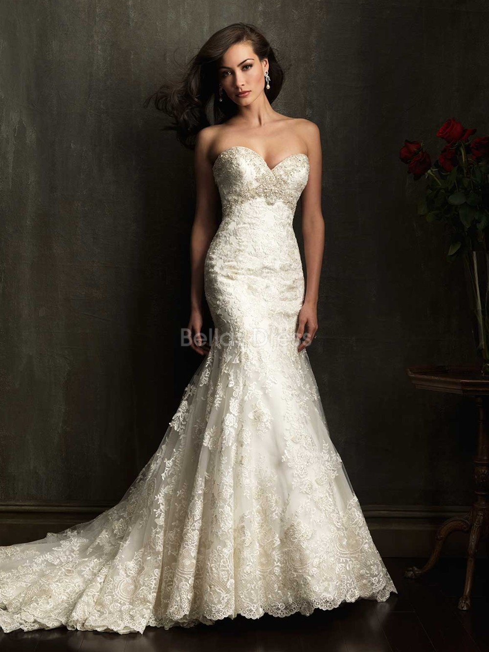 lace sweetheart mermaid wedding dress