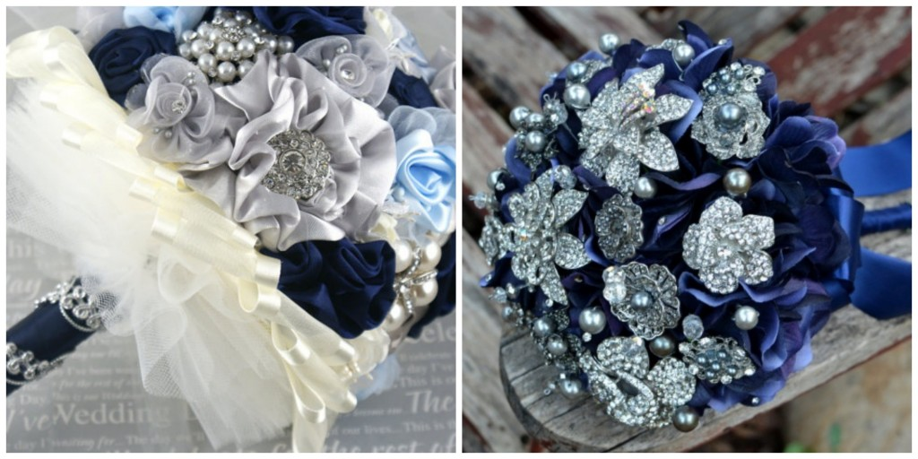 Navy And Silver Wedding Centerpieces