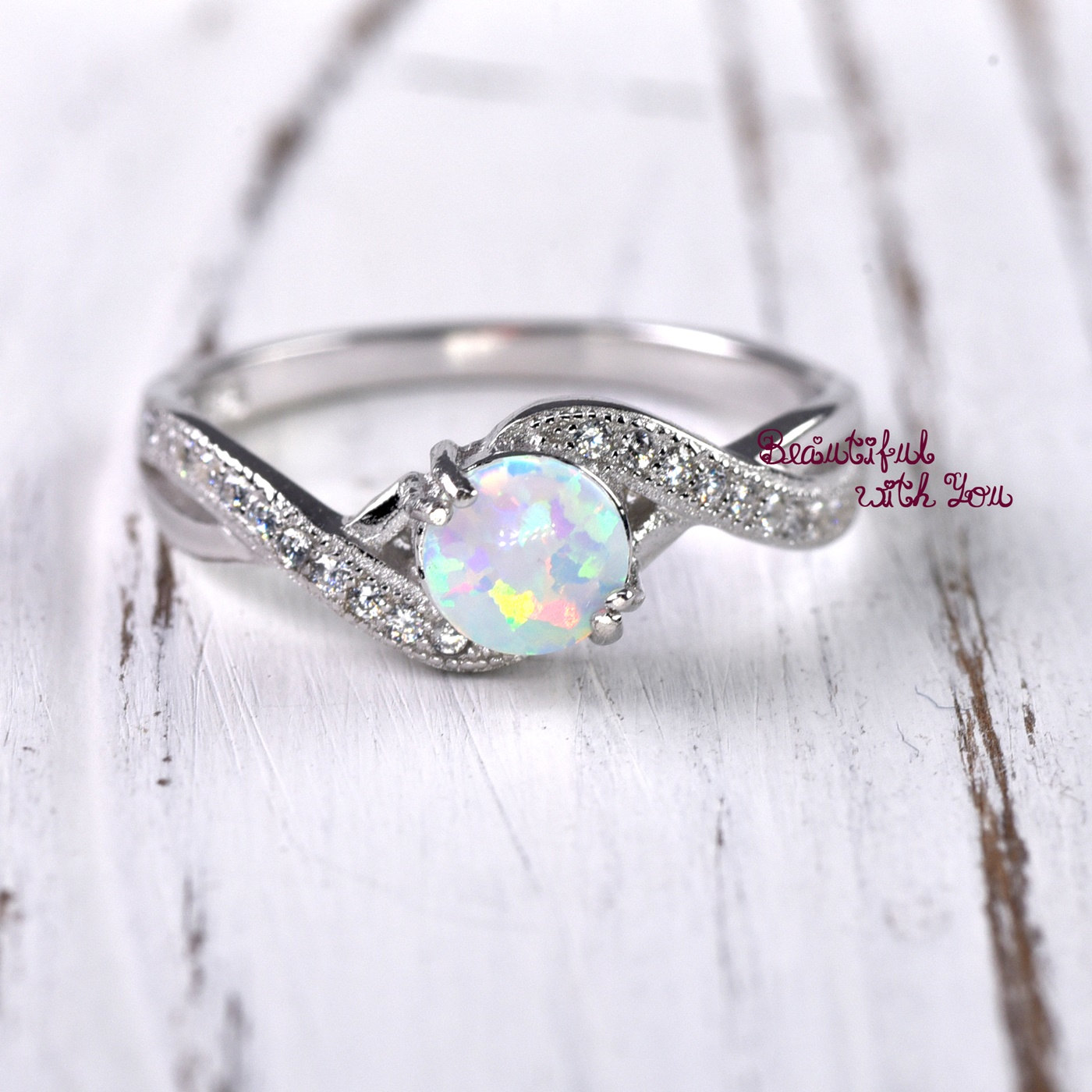 Opal Wedding Band.Opal Wedding Band
