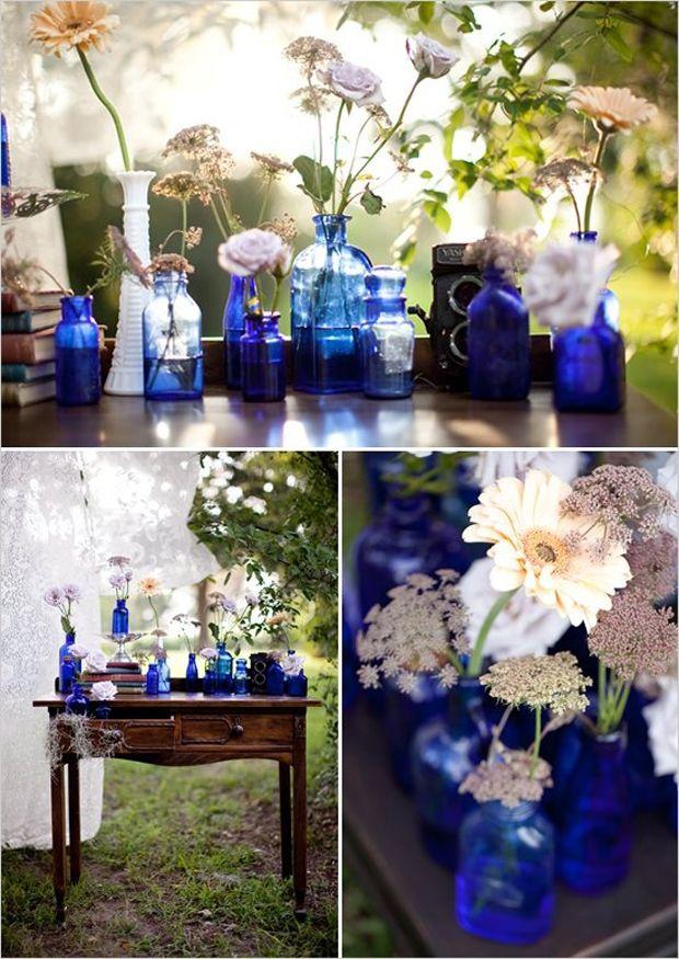 Cobalt Blue Vases Wedding