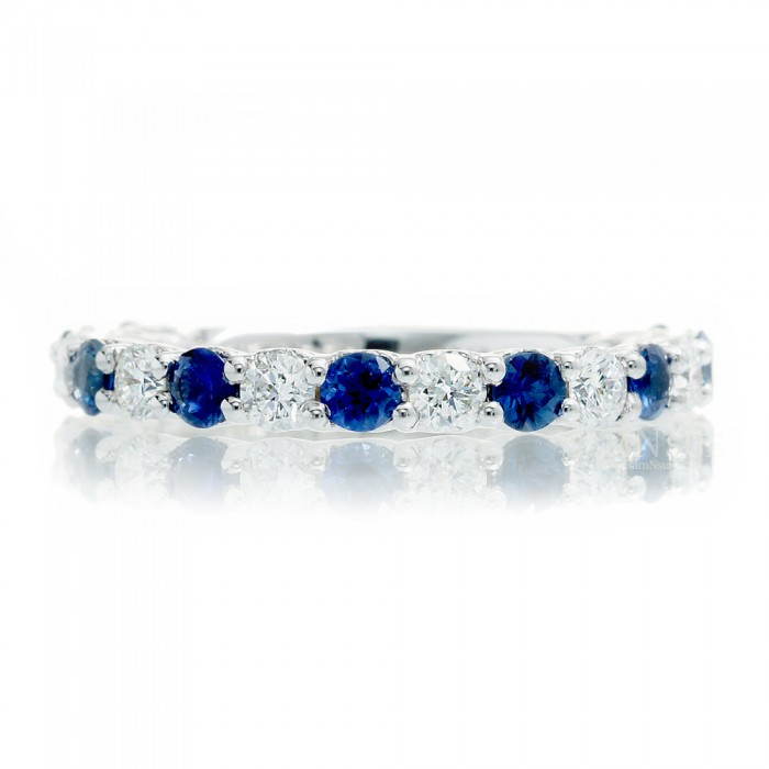 Sapphire Wedding Band Diamond Accent Heart Design Anniversary Ring