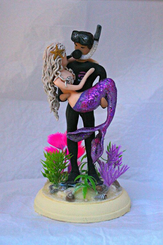 Mermaid Wedding Cake Topper