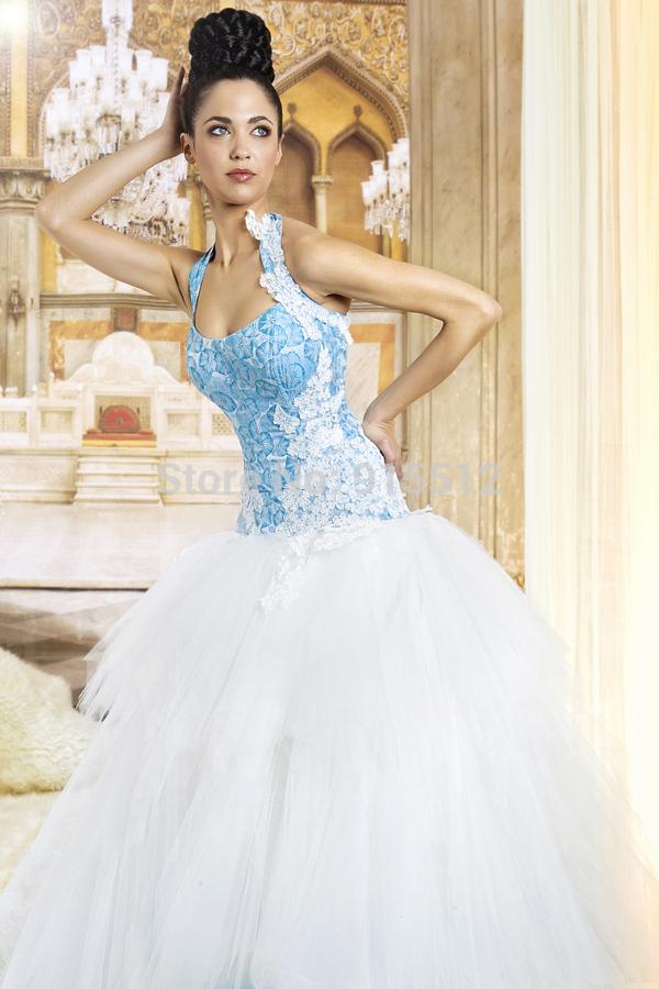 Sky Blue And White Wedding Dress