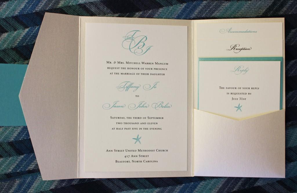 Tiffany Blue & Champagne Starfish And Monogram Pocketfold Wedding