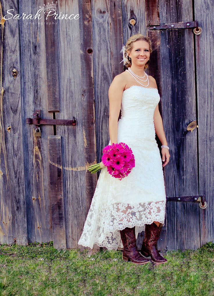 Country Wedding Dress With Cowboy Boots