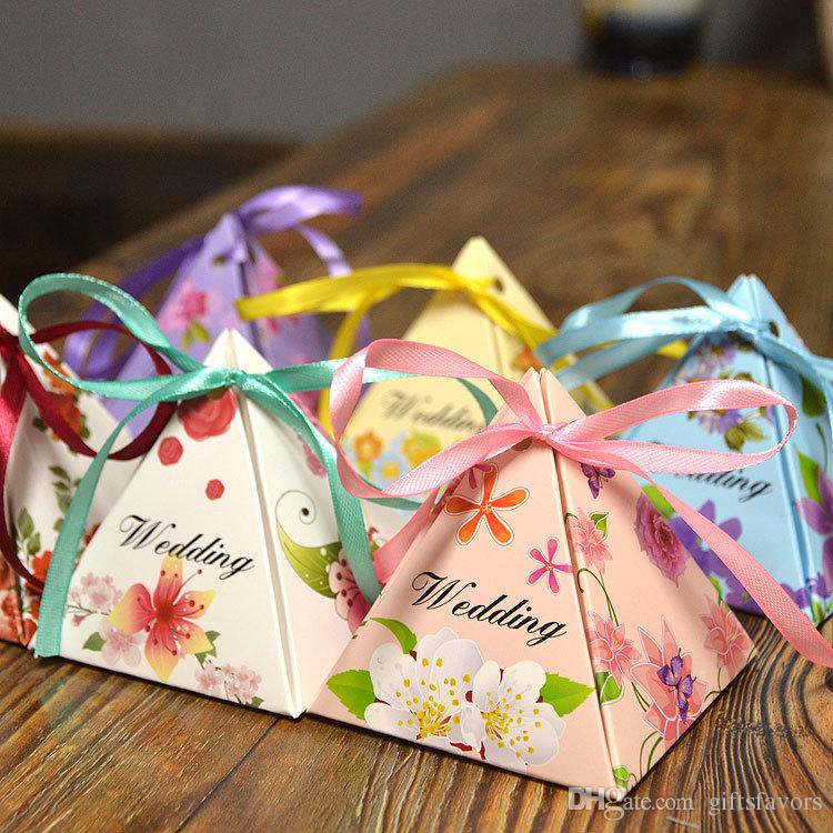 Triangle Paper Diy Candy Chocolate Boxes Favor Holders Wedding