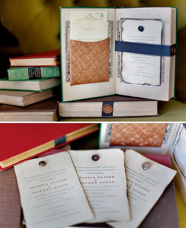 Vintage Books As Wedding Invitations