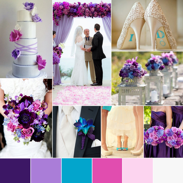 Wedding Color Palette Pink & Purple, With Accents Of Blue