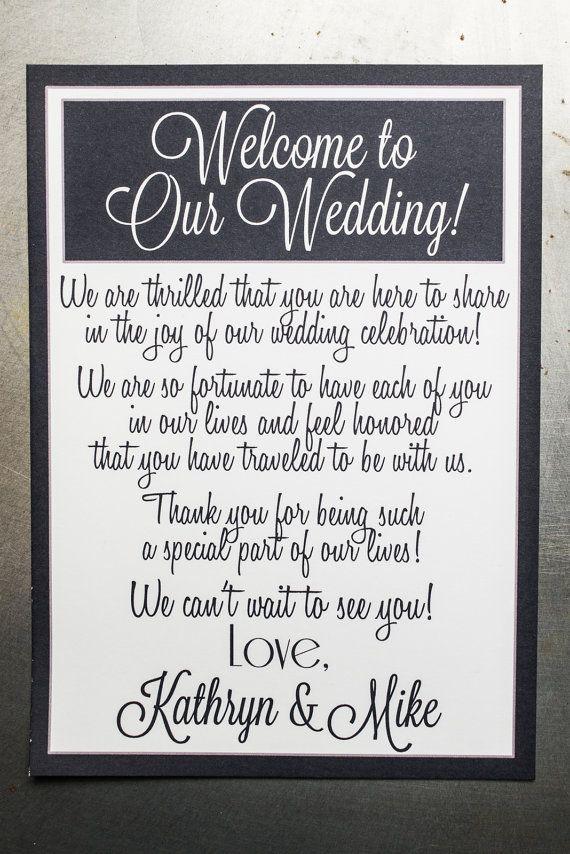 Wedding Gift Bag Welcome Letter