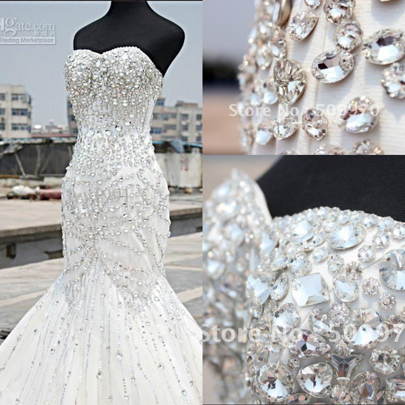 2017 Luxury Crystal Wedding Dress Real Photo Mermaid Vintage