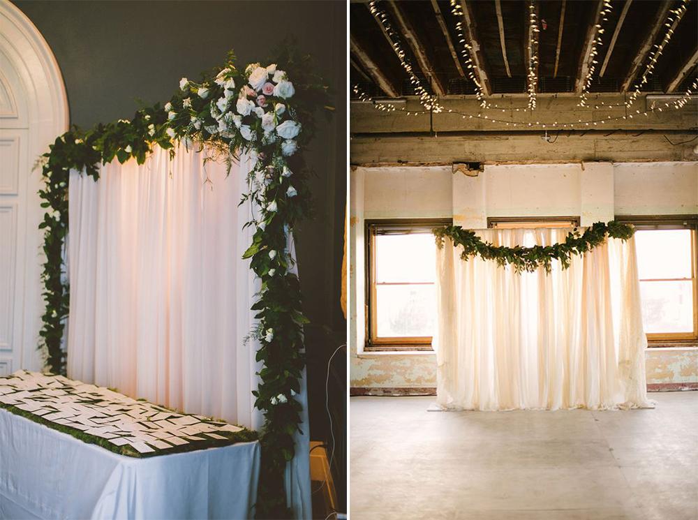 pipe and drape wedding