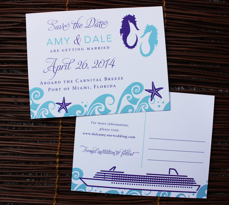 Cruise Wedding Beach Themed Save The Date Cards