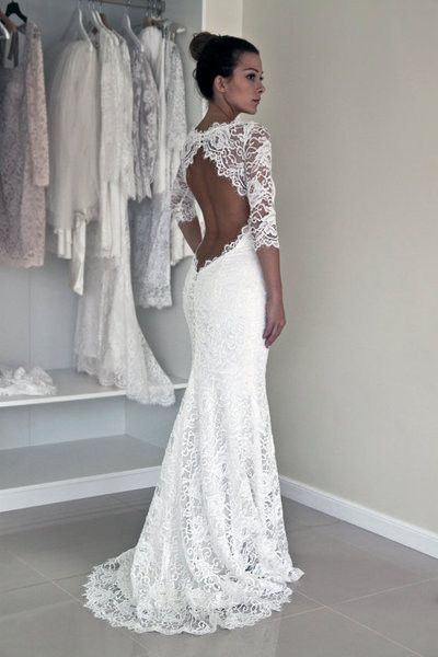 Enchanting Lace Backless Wedding Dress 74 About Remodel