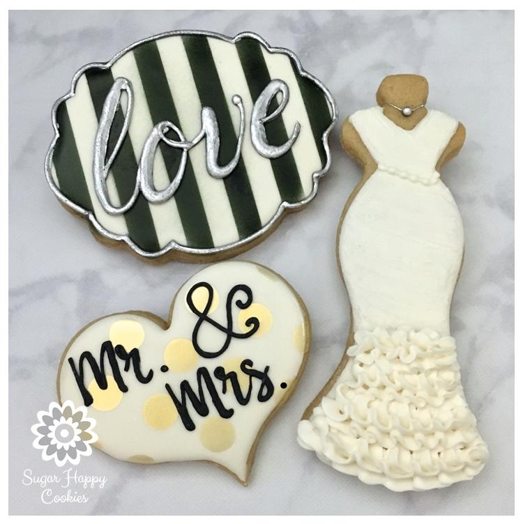 Mr & Mrs Sugar Cookies, Wedding Gown, Wedding Dress, Black ...