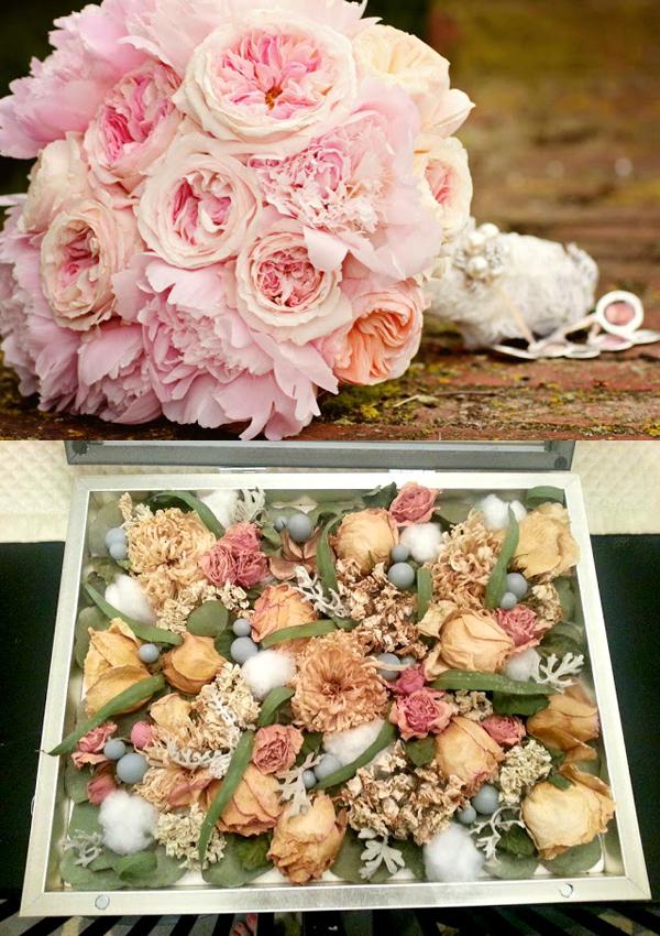Dried Wedding Bouquet In Shadow Box
