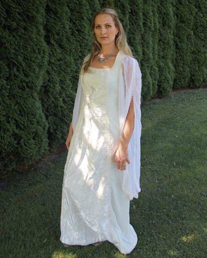 Simple White Renaissance Wedding Dress