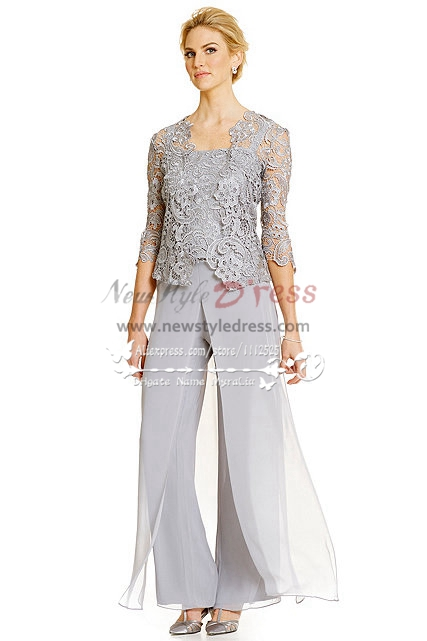 Summer Chiffon Two Piece Mother Of The Bride Pant Suits 2014 New