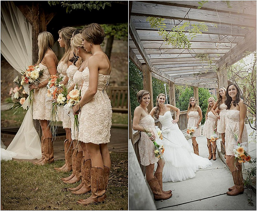 High Low Wedding Dress With Cowgirl Boots