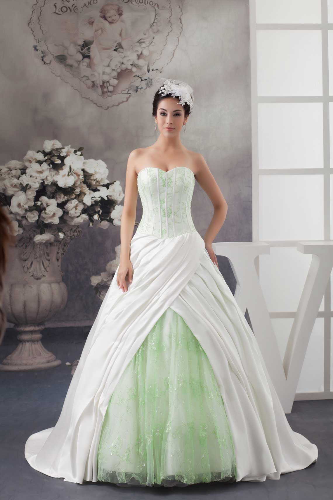 a38216bf5d34 Blue Green And White Wedding Dress