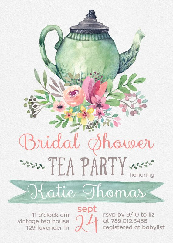Vintage Tea Party Bridal Shower Invitations