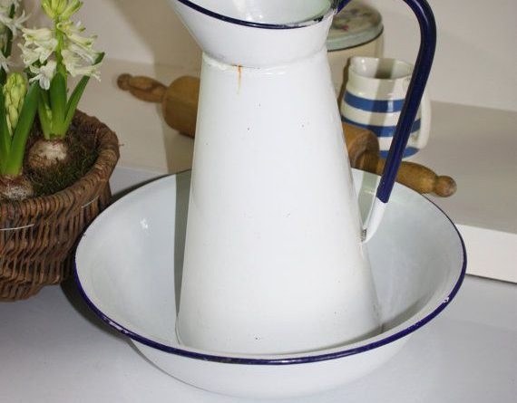 Vintage White Enamel Jug And Bowl