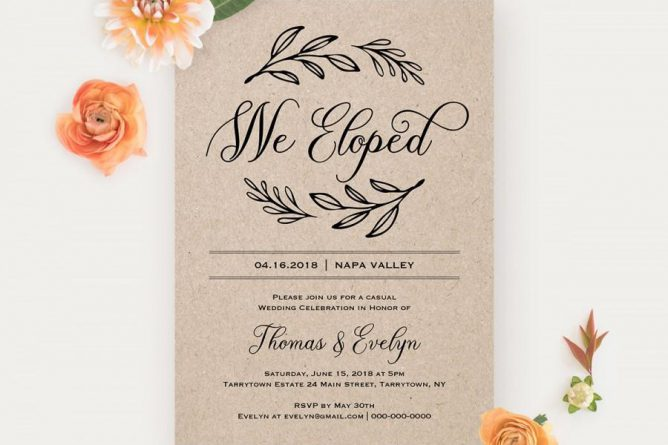 We Eloped Reception Invitation Template, Printable Elopement