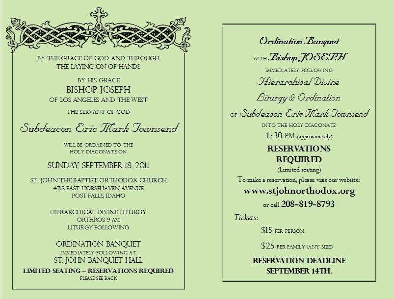 Catholic Deacon Ordination Invitations