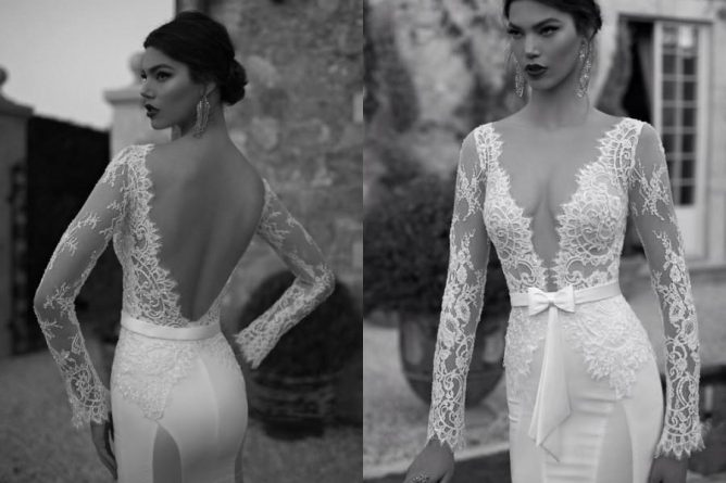 Discount Hot Sale Berta 2015 Mermaid Wedding Dresses Deep V Neck