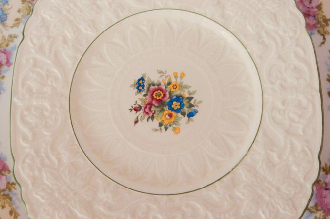 Vintage China Dinner Plates Royal Cauldon Square With