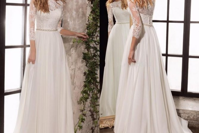 Discount Long Sleeve Lace Wedding Dresses 2019 New Simple Elegant